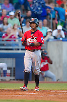 Frisco RoughRiders left fielder Teodoro Martinez (28) steps to the plate during the Texas League game against the Tulsa Drillers at ONEOK field on August 15, 2014 in Tulsa, Oklahoma  The RoughRiders defeated the Drillers 8-2.  (William Purnell/Four Seam Images)