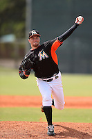 Miami Marlins pitcher James Wooster (34) during a minor league spring training game against the New York Mets on March 28, 2014 at the Roger Dean Stadium Complex in Jupiter, Florida.  (Mike Janes/Four Seam Images)