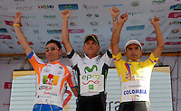 COLOMBIA. 08-08-2014. Jefferson Abacuc, Weimar Roldan y Miguel Angel Rubiano líderes al final de la etapa 3, Barbosa – Chiquinquirá – Tunja – 123.2 Km, de la Vuelta a Colombia 2014 en bicicleta que se cumple entre el 6 y el 17 de agosto de 2014. / Jefferson Abacuc, Weimar Roldan and Miguel Angel Rubiano cyclists leaders at he end of the stage 3, Barbosa – Chiquinquira – Tunja – 123.2 Km, of the Tour of Colombia 2014 in bike holds between 6 and 17 of August 2014. Photo:  VizzorImage/ José Miguel Palencia / Str