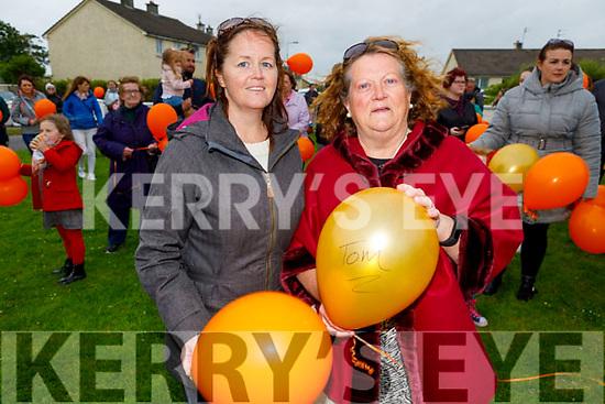 Mary Boylan Lyne and Helen Kearney attending the Comfort for Chemo balloon release fundraiser in Casements Avenue, Ardfert on Sunday evening