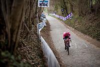 Stefan Bissegger (SUI/EF Education - Nippo) is the race leader up the Koppenberg<br /> <br /> 105th Ronde van Vlaanderen 2021 (MEN1.UWT)<br /> <br /> 1 day race from Antwerp to Oudenaarde (BEL/264km) <br /> <br /> ©kramon