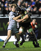 Ben Skirving of Bath Rugby is tackled by George Ford of Leicester Tigers during the LV= Cup semi final match between Bath Rugby and Leicester Tigers at The Recreation Ground, Bath (Photo by Rob Munro, Fotosports International)