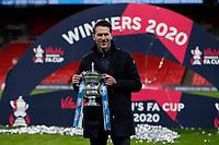 1st November 2020; Wembley Stadium, London, England; Womens FA Cup Final Football, Everton Womens versus Manchester City Womens; Manchester City Women Head Coach Gareth Taylor poses with the Womens FA Cup Final Trophy