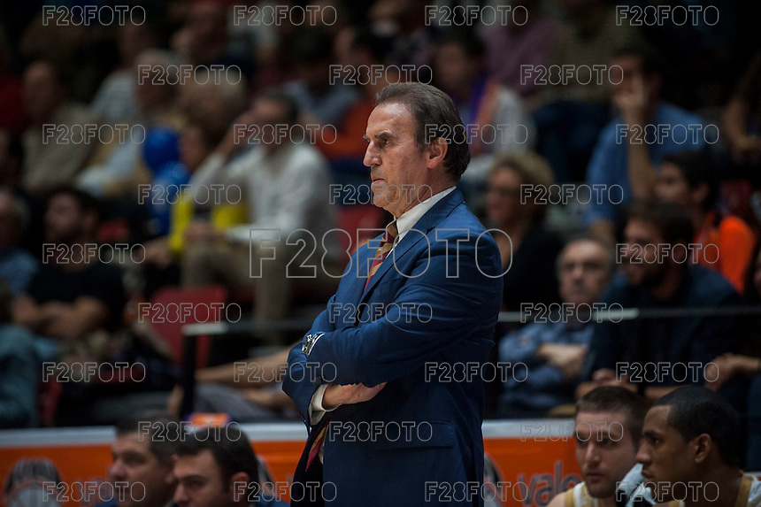 VALENCIA, SPAIN - NOVEMBER 3: Carlo Recalcati during EUROCUP match between Valencia Basket Club and CAI Zaragozaat Fonteta Stadium on November 3, 2015 in Valencia, Spain
