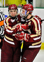 10 February 2012: Boston College Eagles celebrate scoring a goal against the University of Vermont Catamounts at Gutterson Fieldhouse in Burlington, Vermont. The Eagles defeated the Catamounts 6-1 in their Hockey East matchup. Mandatory Credit: Ed Wolfstein Photo