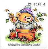 CUTE ANIMALS, LUSTIGE TIERE, ANIMALITOS DIVERTIDOS, paintings+++++,KL4590/4,#ac#, EVERYDAY ,sticker,stickers ,bear,bears ,autumn