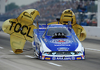 Apr. 30, 2011; Baytown, TX, USA: NHRA funny car driver Robert Hight during qualifying for the Spring Nationals at Royal Purple Raceway. Mandatory Credit: Mark J. Rebilas-