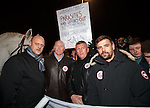Craig Houston, John Brown, Iain Ferguson and Nacho Novo join the fans demonstrating outside the front door of Ibrox