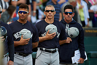 New York Yankees infielder Gleyber Torres (81), manager Joe Girardi (28), and coach Rob Thomson (59) during the national anthem before a Grapefruit League Spring Training game against the Pittsburgh Pirates on March 6, 2017 at LECOM Park in Bradenton, Florida.  Pittsburgh defeated New York 13-1.  (Mike Janes/Four Seam Images)