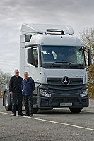 Pictured: (L-R) PC Martyn Young and PC Phil Dunning of the Commercial Vehicle Unit by the Mercedes Actross truck which will be used by South Wales Police to police roads. Monday 16 April 2018<br /> Re: South Wales Police, in conjunction with Go Safe, have launched Operation Tramline across Wales.<br /> Operation Tramline is an operation taken from Highways England – it equips police forces with a Heavy Goods Vehicle and enables them to carry out patrols of main arterial roads throughout Wales. The vehicle gives operational officers a different perspective, enabling them to better detect dangerous driving.