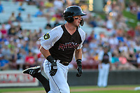 Wisconsin Timber Rattlers outfielder Robert Henry (3) runs to first base during a Midwest League game against the Clinton LumberKings on June 29, 2018 at Fox Cities Stadium in Appleton, Wisconsin. Clinton defeated Wisconsin 9-7. (Brad Krause/Four Seam Images)