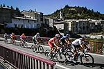 The breakaway featuring Nicolas Roche (IRL) Sunweb, , Jesus Herrada (ESP) Cofidis, Neilson Powless (USA) EF, Greg Van Avermaet (BEL) CCC, Alexey Lutsenko (KAZ) Astana, Rémi Cavagna (FRA) Deceuninck-Quick Step, Edvald Boasson Hagen (NOR) NTT and Daniel Oss (ITA) Bora-Hansgrohe during Stage 6 of Tour de France 2020, running 191km from Le Teil to Mont Aigoual, France. 3rd September 2020.<br /> Picture: ASO/Pauline Ballet   Cyclefile<br /> All photos usage must carry mandatory copyright credit (© Cyclefile   ASO/Pauline Ballet)