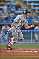 Lakewood BlueClaws right fielder Dylan Cozens #8 runs to first during a game against the Asheville Tourists at McCormick Field on May 2, 2014 in Asheville, North Carolina. The Tourists defeated the BlueClaws 14-3. (Tony Farlow/Four Seam Images)