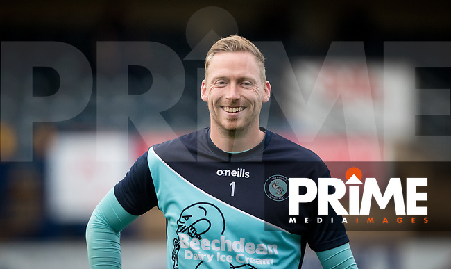 Goalkeeper Ryan Allsop of Wycombe Wanderers pre match warm up during the Carabao Cup 2nd round match between Wycombe Wanderers and Forest Green Rovers at Adams Park, High Wycombe, England on 28 August 2018. Photo by Andy Rowland.