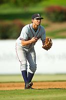 Rome Braves shortstop Jose Peraza (4) on defense against the Kannapolis Intimidators at CMC-Northeast Stadium on August 25, 2013 in Kannapolis, North Carolina.  The Intimidators defeated the Braves 9-0.  (Brian Westerholt/Four Seam Images)