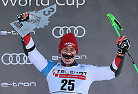 20th December 2020; Alta Badia, South-Tyrol, Italy; International Ski Federation World Cup Alpine Skiing, Giant Slalom;  Justin Murisier (SUI) celebrates his 3rd place on the podium