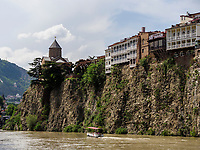 Metheki und Fluss Kura-Mtkwari, Tiflis – Tbilissi, Georgien, Europa<br /> Metheki and river Kura Mtkwari, Tbilisi, Georgia, Europe
