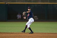AZL Indians 2 shortstop Brayan Rocchio (24) prepares to make a throw to first base during an Arizona League game against the AZL Dodgers at Goodyear Ballpark on July 12, 2018 in Goodyear, Arizona. The AZL Indians 2 defeated the AZL Dodgers 2-1. (Zachary Lucy/Four Seam Images)