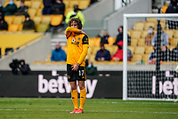 23rd May 2021; Molineux Stadium, Wolverhampton, West Midlands, England; English Premier League Football, Wolverhampton Wanderers versus Manchester United; Fábio Silva of Wolverhampton Wanderers forms a one man wall for a Man United free kick