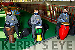 Diarmuid O'Driscoll, Bobby Fitzpatrick and Luke Fitzmaurice beating the drums at the African Drumming session in CBS the Green on Friday.