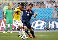 SARANSK - RUSIA, 19-06-2018: Wilmar BARRIOS (Izq) jugador de Colombia disputa el balón con Shinji OKAZAKI (Der) jugador de Japón durante partido de la primera fase, Grupo H, por la Copa Mundial de la FIFA Rusia 2018 jugado en el estadio Mordovia Arena en Saransk, Rusia. /  Wilmar BARRIOS (L) player of Colombia fights the ball with Shinji OKAZAKI (R) player of Japan during match of the first phase, Group H, for the FIFA World Cup Russia 2018 played at Mordovia Arena stadium in Saransk, Russia. Photo: VizzorImage / Julian Medina / Cont