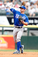 Kansas City Royals second baseman Johnny Giavotella #9 during a game against the Chicago White Sox at U.S. Cellular Field on August 14, 2011 in Chicago, Illinois.  Chicago defeated Kansas City 6-2.  (Mike Janes/Four Seam Images)