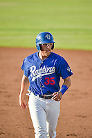 Matthew Beaty (35) of the Ogden Raptors walks back to first base against the Idaho Falls Chukars in Pioneer League action at Lindquist Field on June 22, 2015 in Ogden, Utah.The Chukars defeated the Raptors 4-3 in 11 innings.  (Stephen Smith/Four Seam Images)