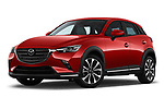 Stock pictures of low aggressive front three quarter view of 2019 Mazda CX-3 Skycruise 5 Door SUV Low Aggressive