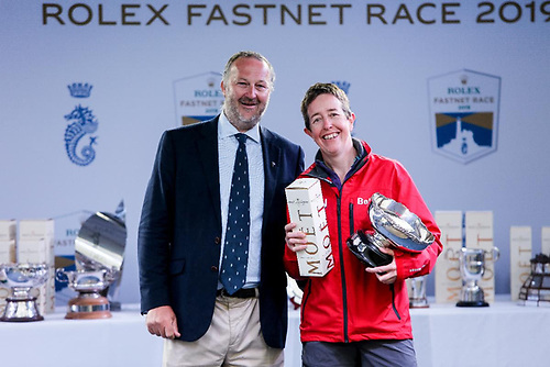 One of the most successful Two-Handed sailors racing with the RORC - Deb Fish on Bellino collects silverware at the 2019 Rolex Fastnet Race © Rick Tomlinson