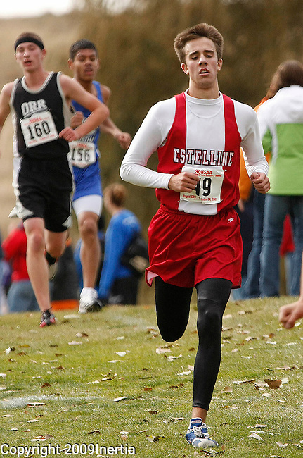 RAPID CITY, SD -- OCTOBER 24, 2009 -- Blake Saathoff of Estelline runs toward the finish of the class B boys event at the 2009 South Dakota State High School Cross Country Meet Saturday in Rapid City. (Photo by Dick Carlson/Inertia)