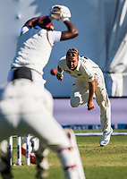 NZ's Neil Wagner bowls during day two of the second International Test Cricket match between the New Zealand Black Caps and West Indies at the Basin Reserve in Wellington, New Zealand on Friday, 11 December 2020. Photo: Dave Lintott / lintottphoto.co.nz