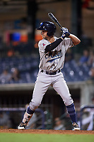 Mobile BayBears left fielder Bo Way (3) at bat during a game against the Mississippi Braves on May 7, 2018 at Trustmark Park in Pearl, Mississippi.  Mobile defeated Mississippi 5-0.  (Mike Janes/Four Seam Images)