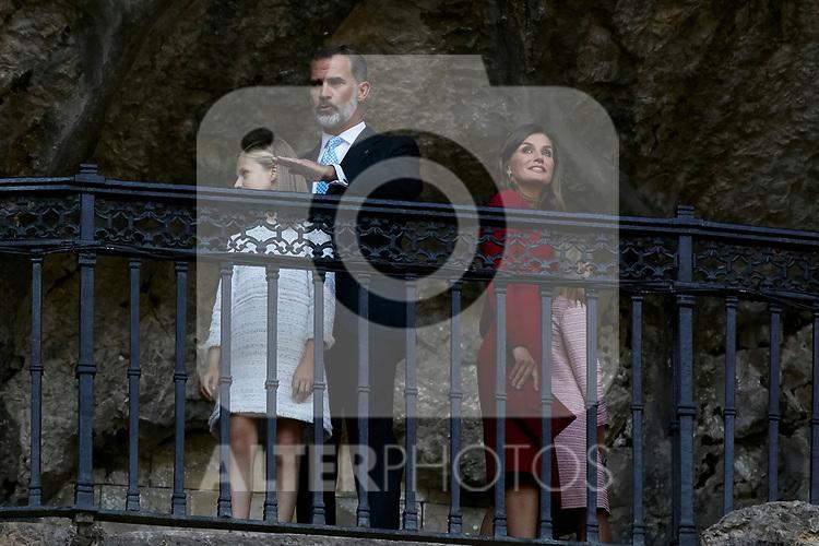 Princess Leonor of Spain, King Felipe VI of Spain, Queen Letizia of Spain and Princess Sofia of Spain visit Covadonga, Spain. September 08, 2018. (ALTERPHOTOS/A. Perez Meca)