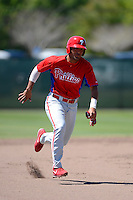 Philadelphia Phillies catcher Gabriel Lino (11) during a minor league Spring Training game against the New York Yankees at Carpenter Complex on March 21, 2013 in Clearwater, Florida.  (Mike Janes/Four Seam Images)