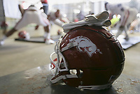 A helmet is shown, Saturday, October 9, 2021 before a football game at Vaught Hemingway Stadium in Oxford, Miss. Check out nwaonline.com/211010Daily/ for today's photo gallery. <br /> (NWA Democrat-Gazette/Charlie Kaijo)