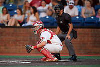 Johnson City Cardinals catcher Zach Jackson (15) awaits the pitch in front of home plate umpire Justin Juska during a game against the Danville Braves on July 28, 2018 at TVA Credit Union Ballpark in Johnson City, Tennessee.  Danville defeated Johnson City 7-4.  (Mike Janes/Four Seam Images)