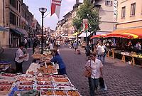 street market, Switzerland, La Cote, Vaud, Open air market in the town of Morges.