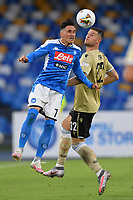 Jose Callejon of SSC Napoli jumps for the ball with Alberto Cerri of SPAL during the Serie A football match between SSC Napoli and SPAL at stadio San Paolo in Naples ( Italy ), June 28th, 2020. Play resumes behind closed doors following the outbreak of the coronavirus disease. <br /> Photo Carmelo Imbesi / Insidefoto