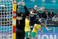 Spain's Albert Rocas (r) and Australia's Ognjen Latinovic during 23rd Men's Handball World Championship preliminary round match.January 15,2013. (ALTERPHOTOS/Acero) /NortePhoto