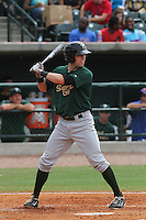 Savannah Sand Gnats first baseman Brian Harrison #9 at bat during a game against the Charleston Riverdogs at Joseph P. Riley Jr. Park on May 16, 2012 in Charleston, South Carolina. Charleston defeated Savannah by the score of 14-5. (Robert Gurganus/Four Seam Images)