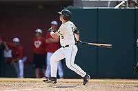 Matt Hudgins (5) of the Army Black Knights follows through on his swing against the North Carolina State Wolfpack at Doak Field at Dail Park on June 3, 2018 in Raleigh, North Carolina. The Wolfpack defeated the Black Knights 11-1. (Brian Westerholt/Four Seam Images)