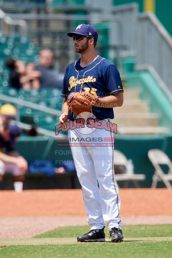 Montgomery Biscuits pitcher Colin Poche (35) during a game against the Biloxi Shuckers on May 8, 2018 at Montgomery Riverwalk Stadium in Montgomery, Alabama.  Montgomery defeated Biloxi 10-5.  (Mike Janes/Four Seam Images)