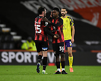 Ajani Burchall of AFC Bournemouth is congratulated by Adam Smith of AFC Bournemouth on making his first team debut at the age of sixteen(16)  during AFC Bournemouth vs Huddersfield Town, Sky Bet EFL Championship Football at the Vitality Stadium on 12th December 2020