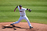 Louisville Cardinals pitcher Jonah Philley (36) delivers a pitch during a game against the Cal State Fullerton Titans on February 15, 2015 at Bright House Field in Clearwater, Florida.  Cal State Fullerton defeated Louisville 8-6.  (Mike Janes/Four Seam Images)