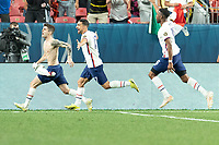 DENVER, CO - JUNE 6: Christian Pulisic #10 of the United States takes a PK and scores a goal during a game between Mexico and USMNT at Mile High on June 6, 2021 in Denver, Colorado.