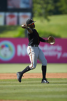 Delmarva Shorebirds third baseman JC Encarnacion (1) makes a throw to first base against the Kannapolis Intimidators at Kannapolis Intimidators Stadium on May 19, 2019 in Kannapolis, North Carolina. The Shorebirds defeated the Intimidators 9-3. (Brian Westerholt/Four Seam Images)