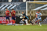 KANSAS CITY, KS - SEPTEMBER 02: Kyle Zobeck #30 of FC Dallas with the ball during a game between FC Dallas and Sporting Kansas City at Children's Mercy Park on September 02, 2020 in Kansas City, Kansas.