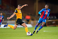 30th October 2020; Molineux Stadium, Wolverhampton, West Midlands, England; English Premier League Football, Wolverhampton Wanderers versus Crystal Palace; Conor Coady of Wolverhampton Wanderers hits a long ball