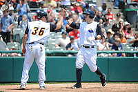 Trenton Thunder outfielder Tyler Austin (21) and Kevin Youkillis (36) during game against the Erie SeaWolves at ARM & HAMMER Park on May 29 2013 in Trenton, NJ.  Trenton defeated Erie 3-1.  Tomasso DeRosa/Four Seam Images