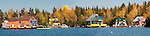 Colourful houseboats of Yellowknife Bay in the autumn